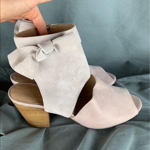 Anthropologie Suede Bow Booties, Clay, sz 10